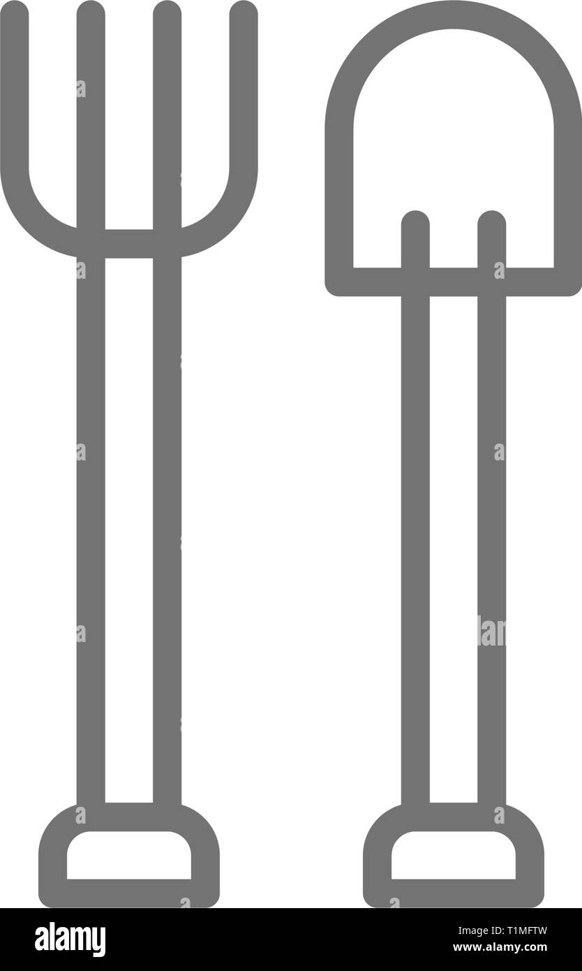 Pitchfork with shovel, gardening tools, agriculture line icon. Stock Vector