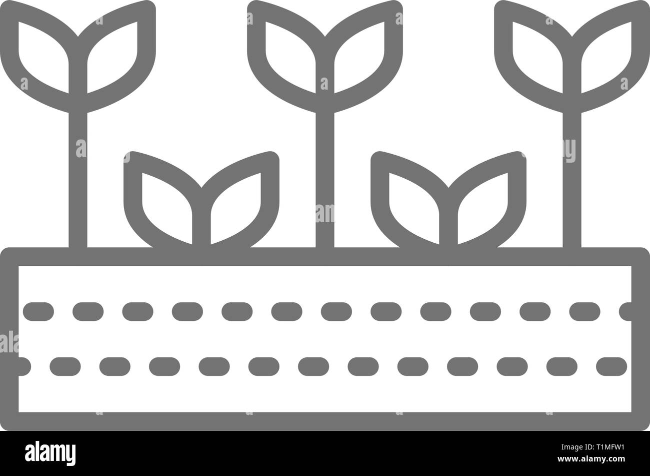 Field with plants, farmland, garden, agricultural landscape line icon. - Stock Vector