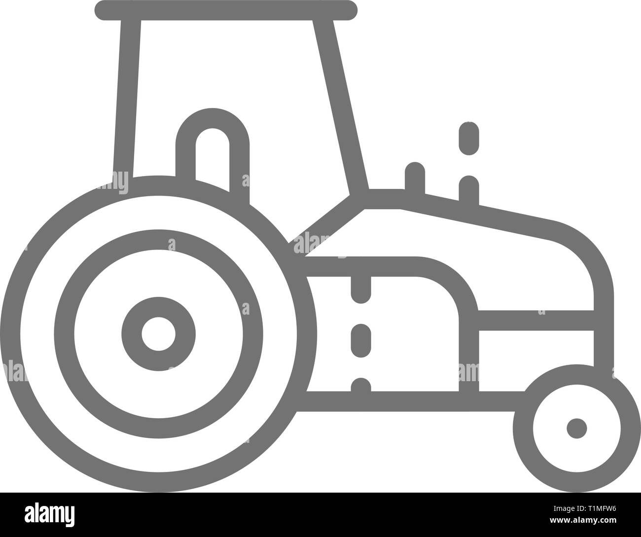 Tractor, agrimotor, heavy agricultural machinery line icon. Stock Vector