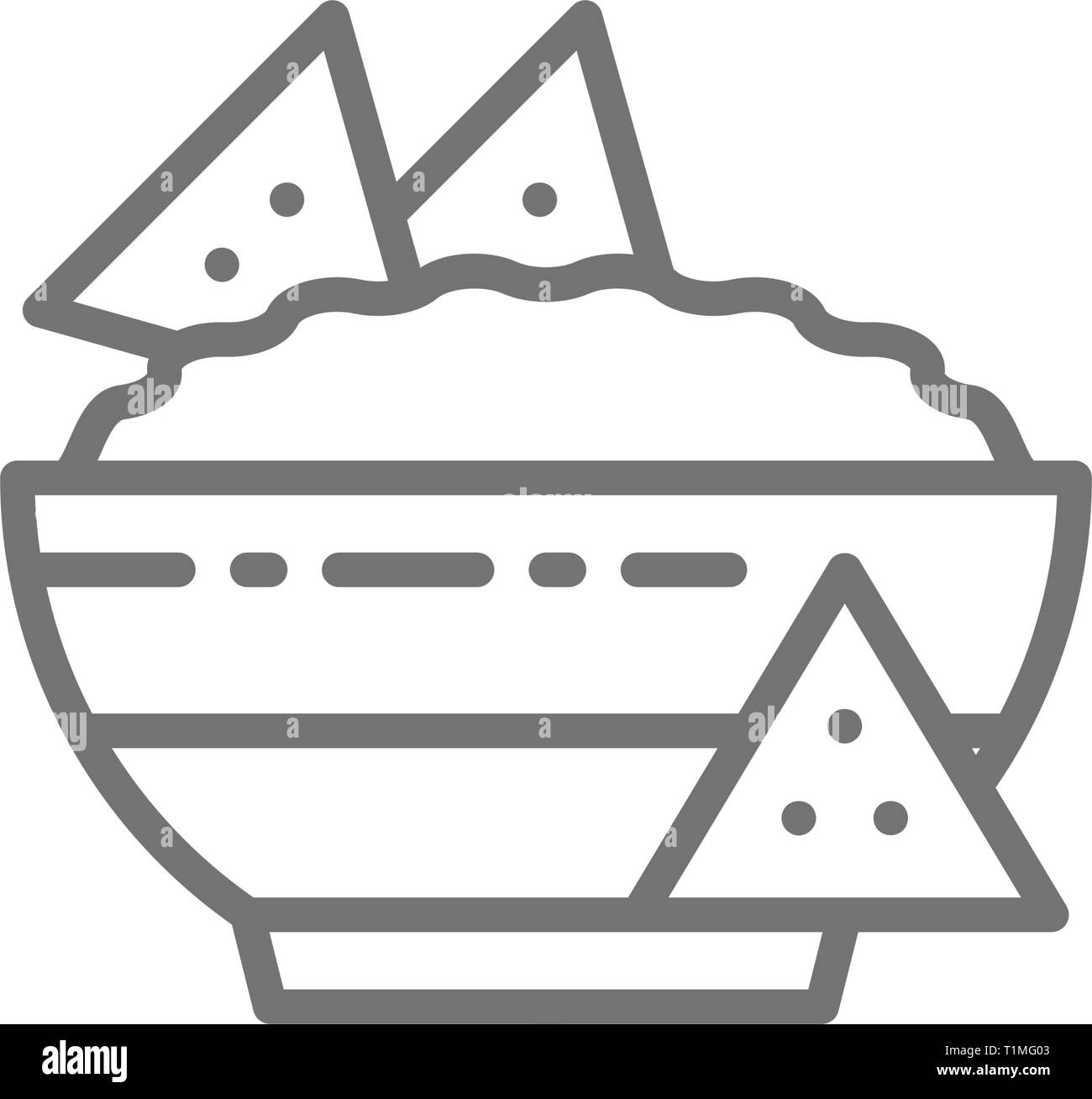 Nachos, mexican fast food, guacamole, chili dish line icon. - Stock Vector