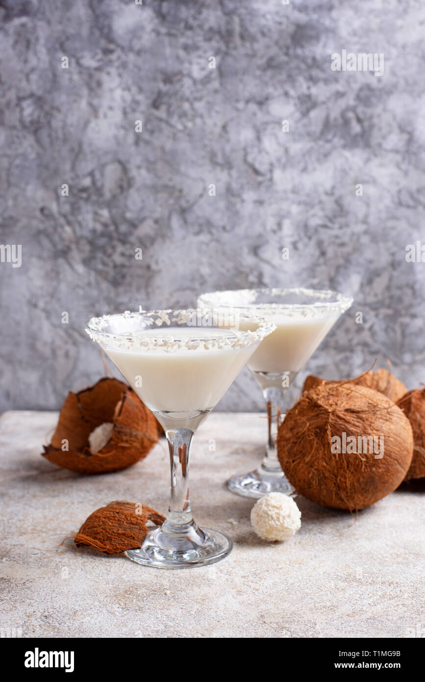 Coconut martini or Margarita. Alcoholic cocktail - Stock Image