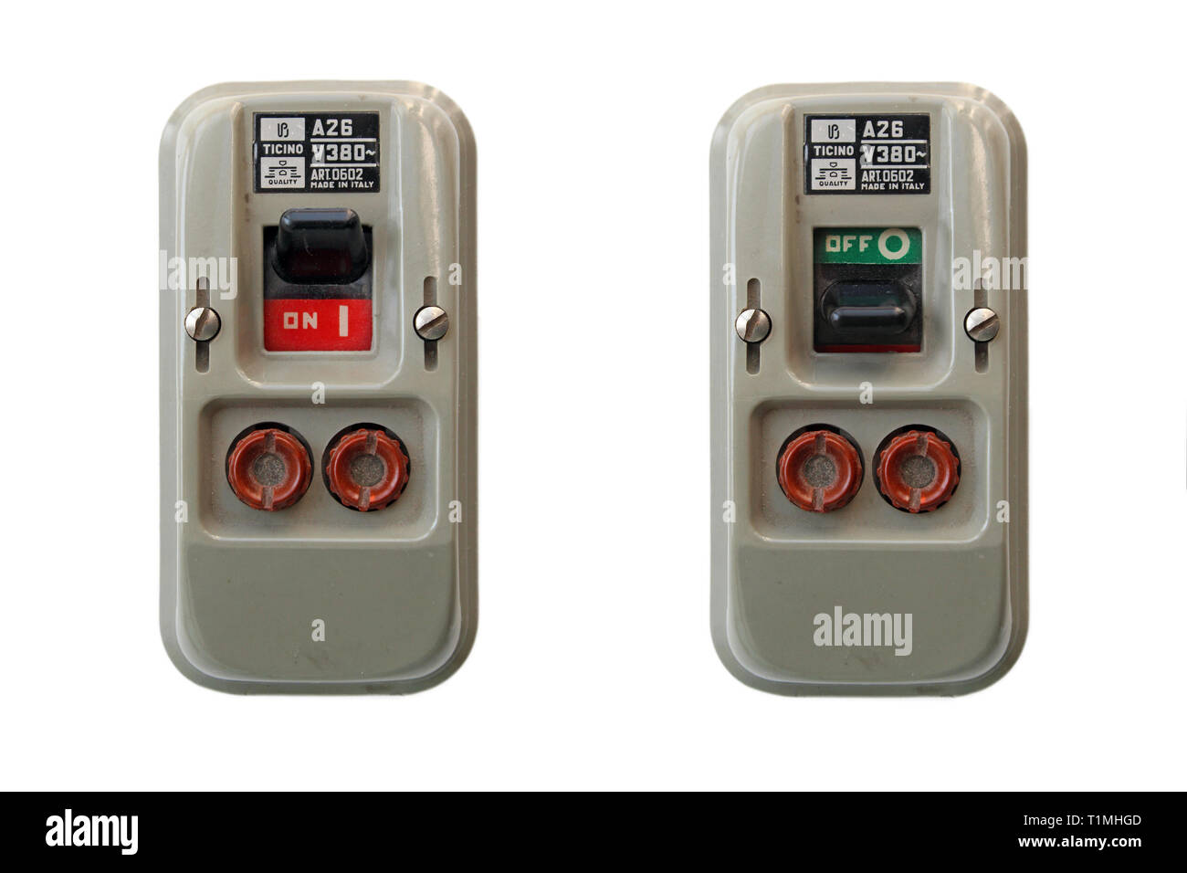 Two vintage safety switches with fuses, isolated on white background - Stock Image
