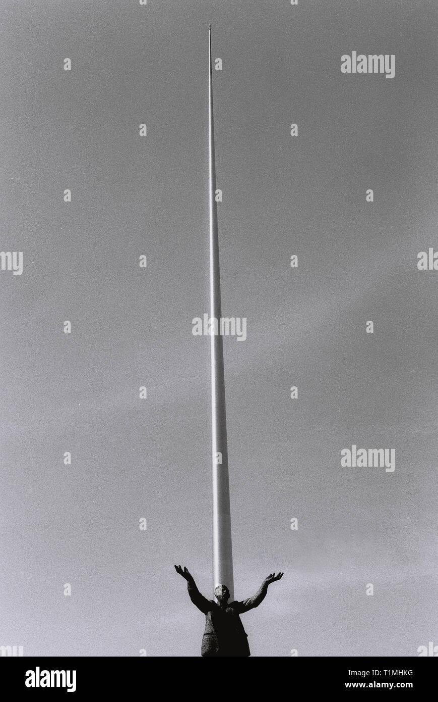 Jim Larkin Statue and Spire of Dublin - Dublin, Ireland - High Quality Scanned Negative - 35mm - Stock Image