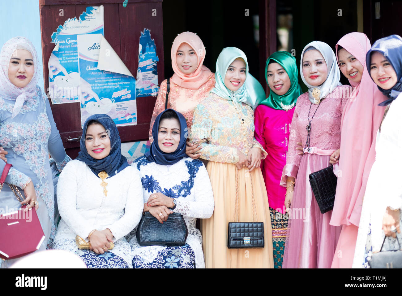 A group of Muslim women wearing traditional clothing, Sulawesi, Indonesia Stock Photo