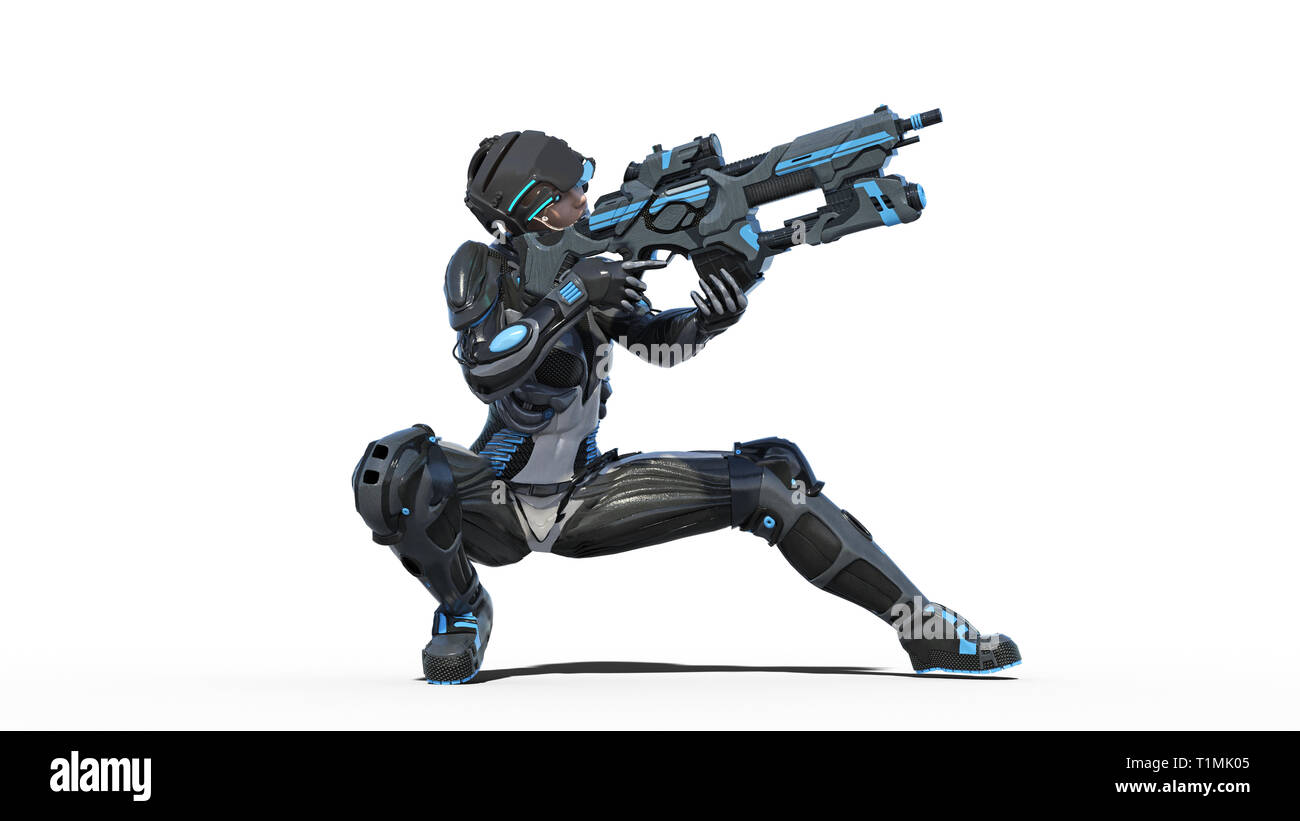 Futuristic female soldier, military woman armed with rifle shooting on white background, sci-fi girl, 3D rendering - Stock Image