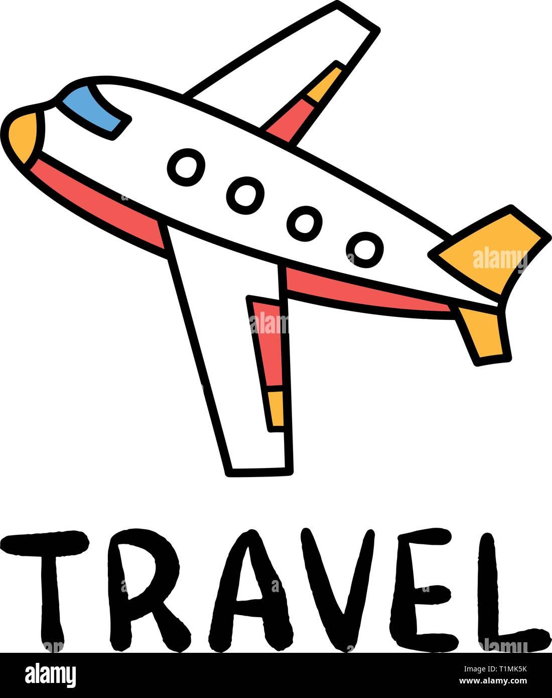 Cartoon Travel Plane Doodle Lettering For Decoration Design