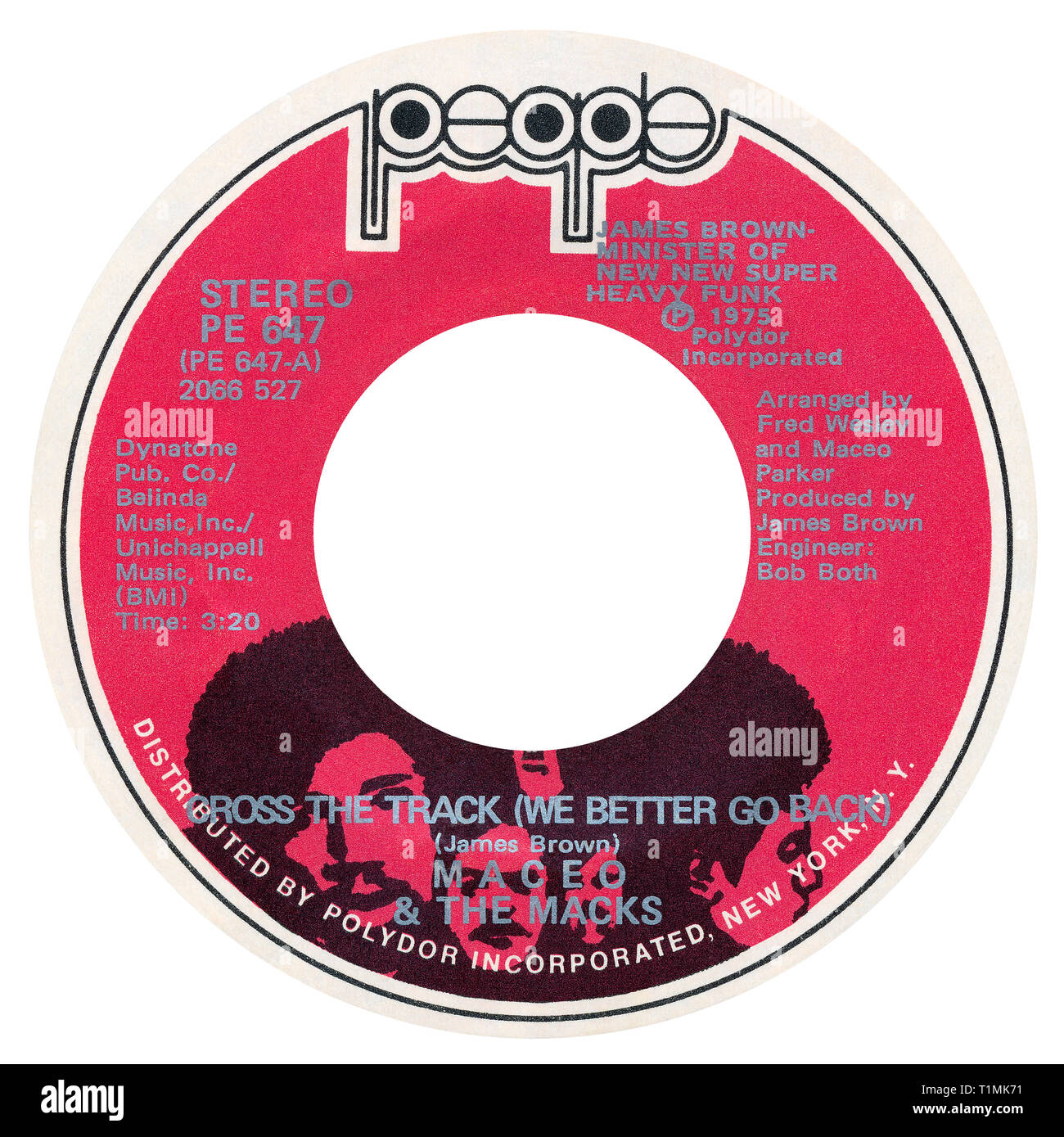US 45 rpm single of Cross The Track (We Better Go Back) by Maceo and the Macks on the People label from 1975. Composed and produced by James Brown and arranged by Fred Wesley and Maceo Parker. - Stock Image
