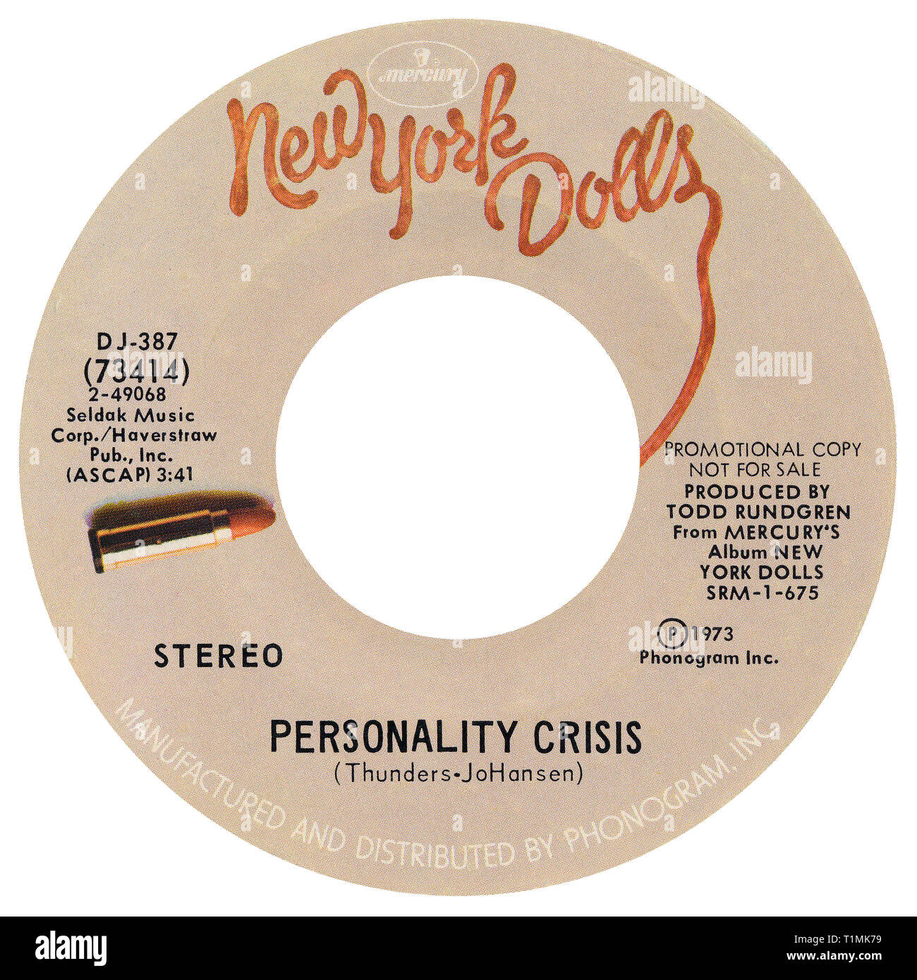 US 45 rpm promotional single of Personality Crisis by the New York Dolls on the Mercury label from 1973. Written by David Johansen and Johnny Thunders and produced by Todd Rundgren. Stock Photo