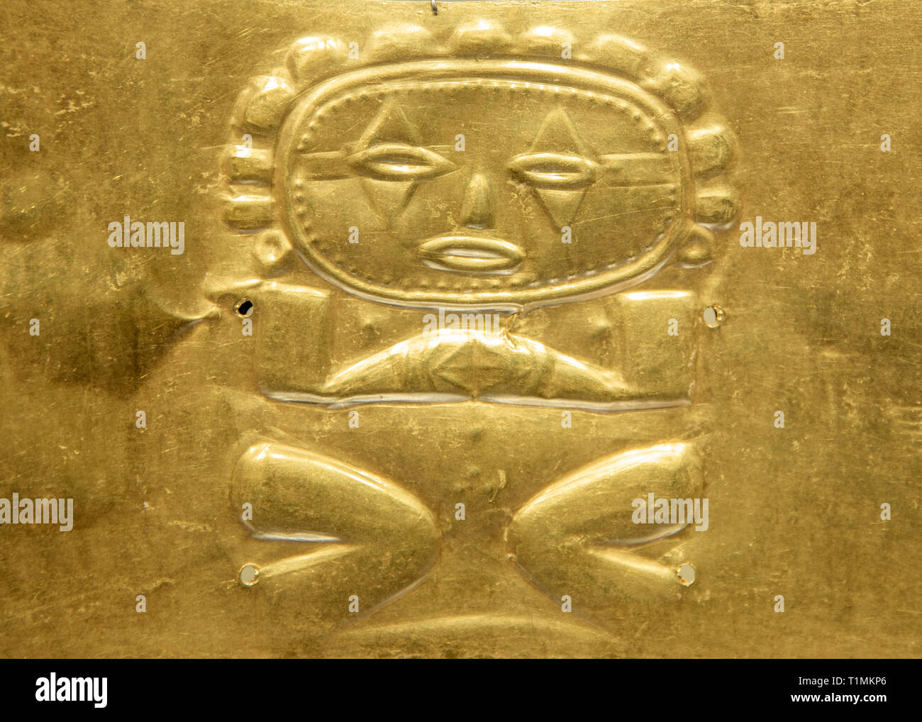 Ancient pre-Colombian artefact in the Gold Museum, Colombia, Bogota - Stock Image