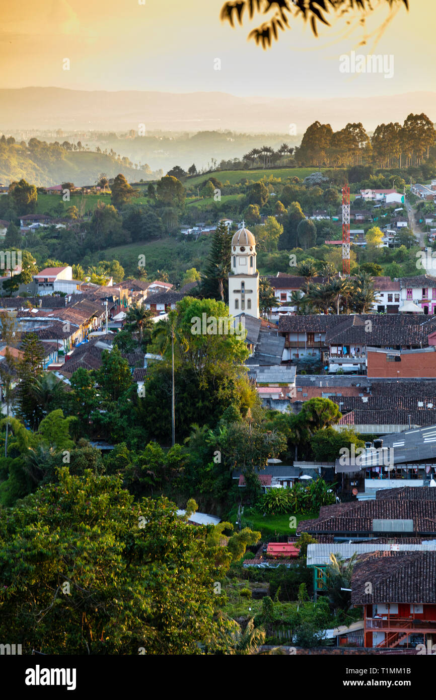 View of Salento village in the coffee region of Quindio, Colombia - Stock Image