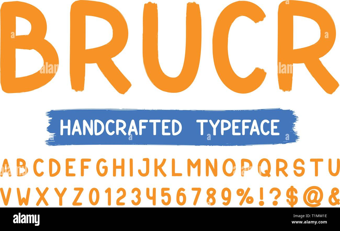 Bold Brush Sans Serif Font Vector Hand Drawn Artistic Alphabet Retro Typography Vector Illustration Stock Vector Image Art Alamy