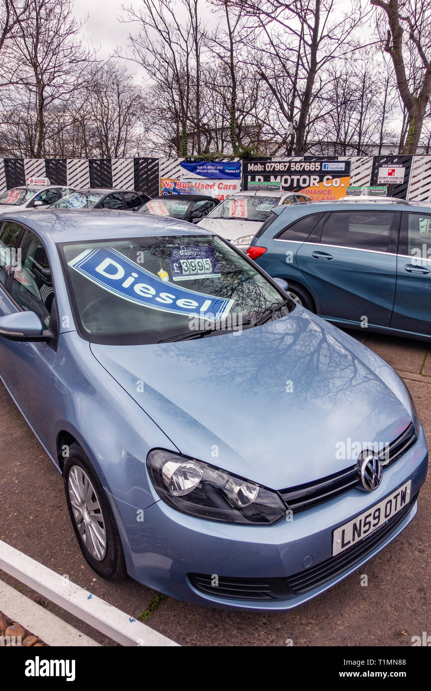 Diesel Car Sign In Car Windscreen At A Used Cars On Sale At A Second Hand Car Sales Pitch At The Side Of The Road Stock Photo Alamy