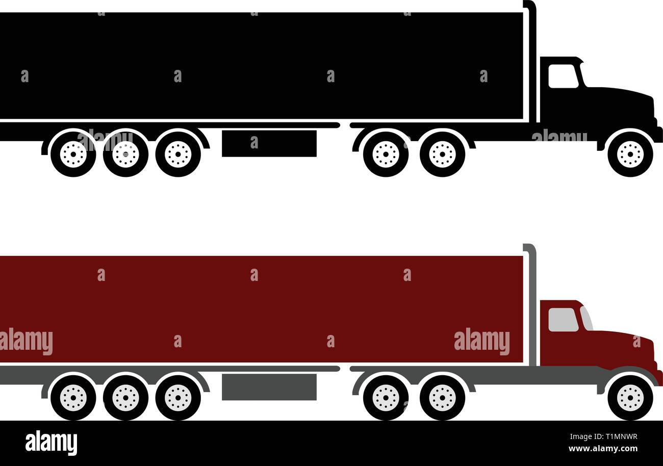 semi truck and trailer simple illustration - vector Stock Vector