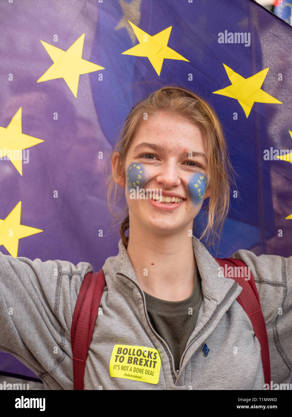 Teenager holding European Union flag on the People's Vote march, 23 March 2019, London, UK - Stock Image