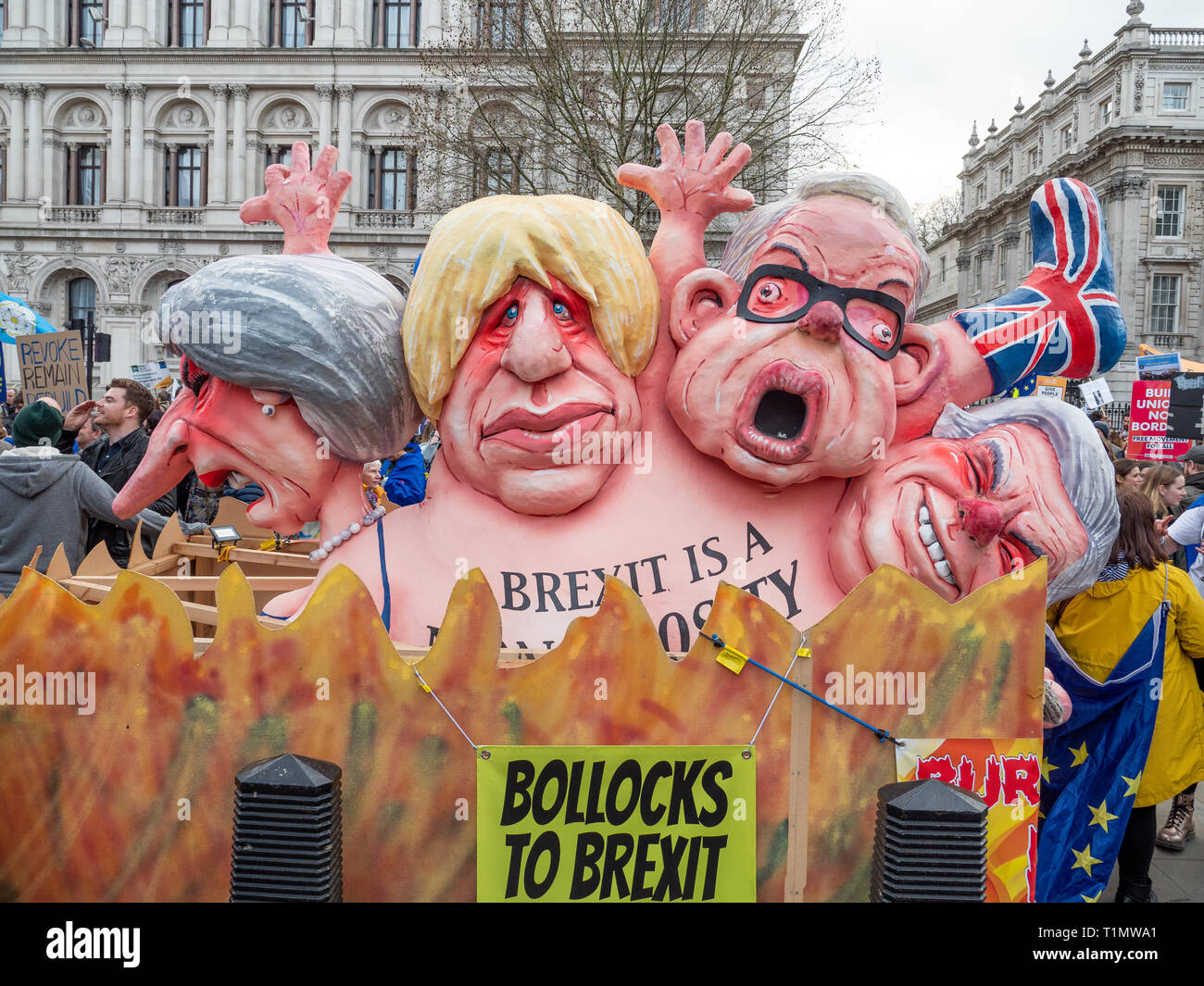 The Brexit Monstrosity float by Jacques Tilly on the People's Vote March, 23 March 2019, Whitehall, London, UK - Stock Image