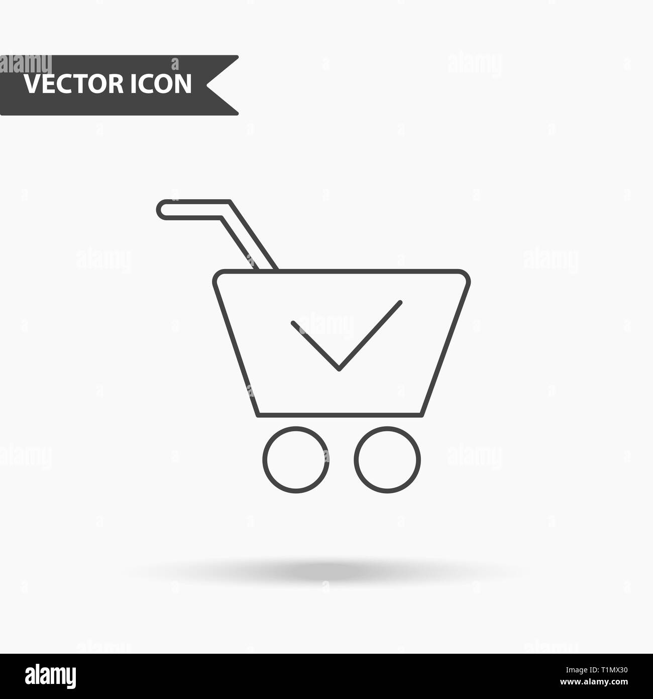 Modern and simple vector illustration of shopping carts icon. Flat image with thin lines for application, interface, presentation, infographics on iso - Stock Image