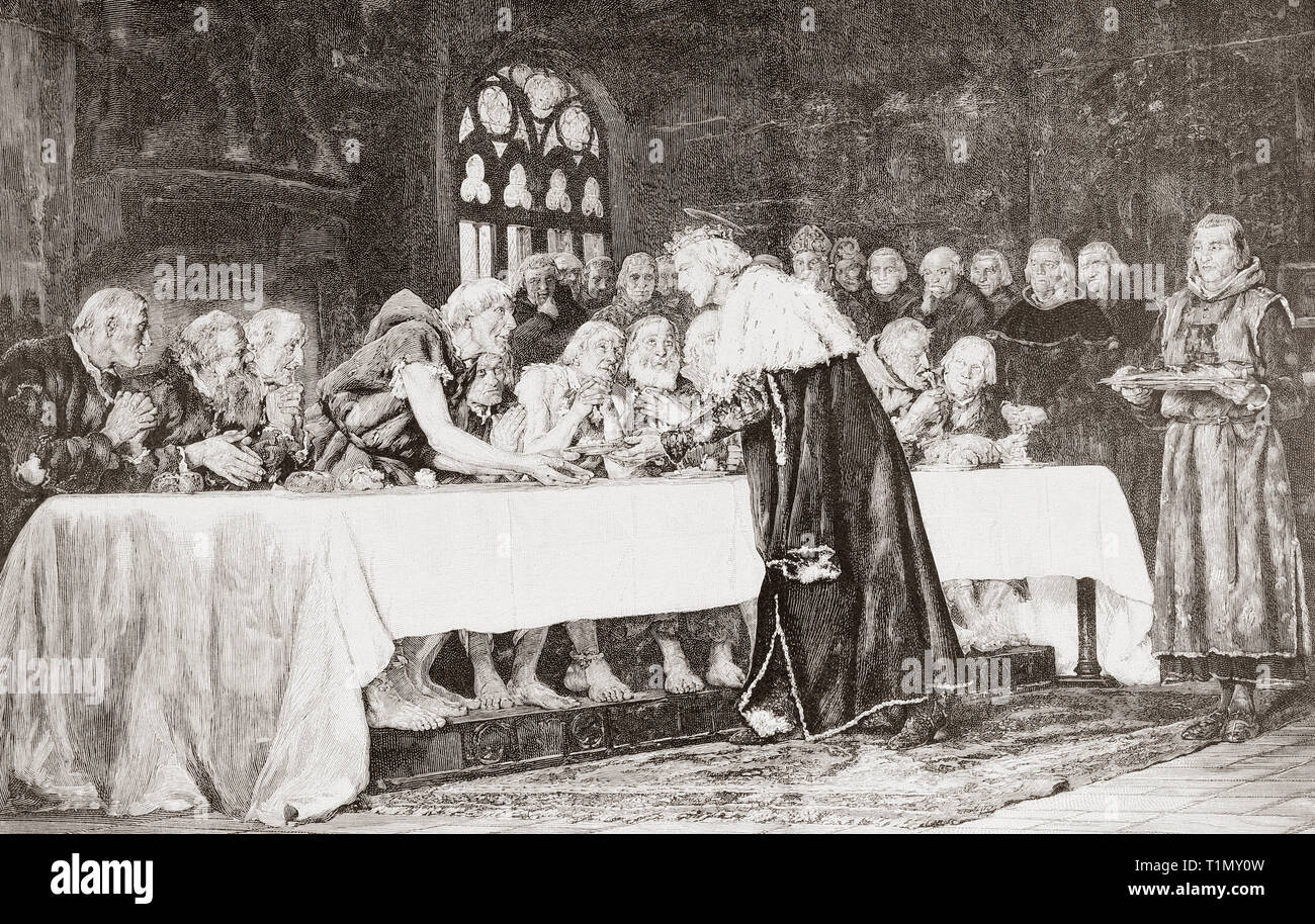 King Ferdinand III feeding the poor.  Ferdinand III, 1199/1201 – 1252, called the Saint (el Santo).  King of Castile, King of Leon and King of Galicia.  From Ilustracion Artistica, published 1887. - Stock Image