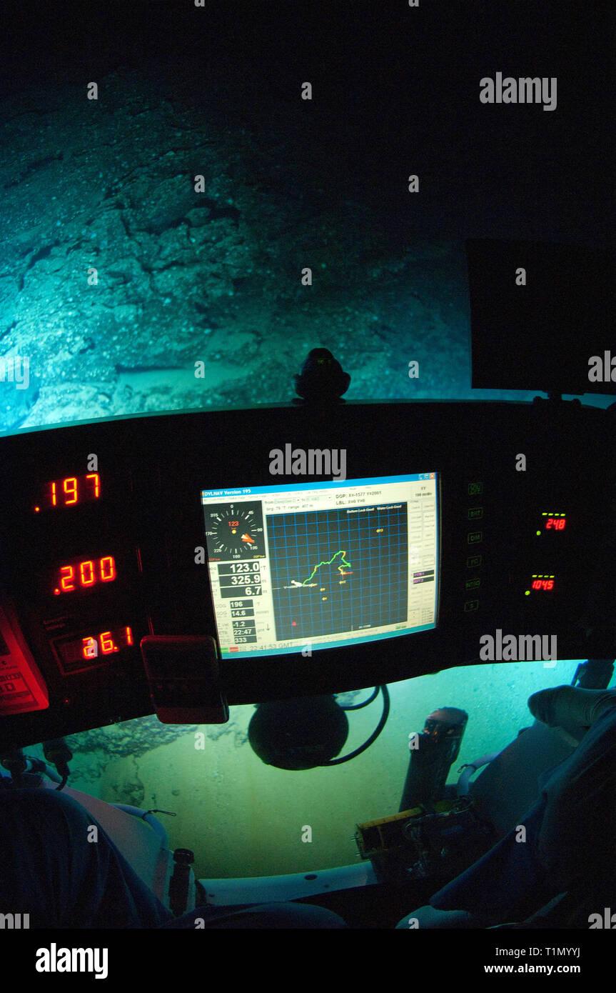 "Deep sea adventure, diving trip with submarin ""DeepSee"", Cocos Island, Costa Rica Stock Photo"