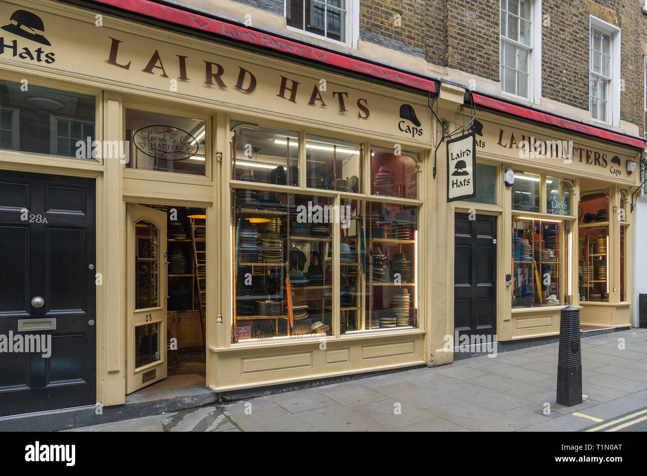 Laird Hatters millinery shop in New Row, Covent Garden, London, England, UK - Stock Image