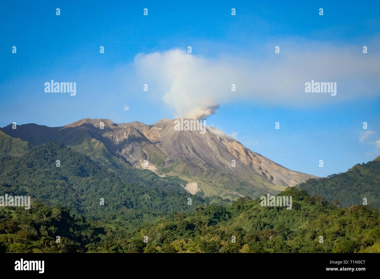 Active Volcano lets off steam in mountains of Nusa Tenggara, Indonesia - Stock Image