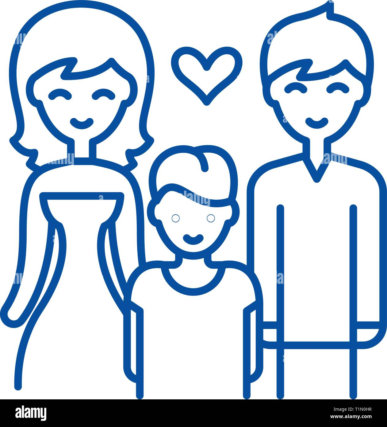 Family with child line icon concept. Family with child flat  vector symbol, sign, outline illustration. - Stock Vector