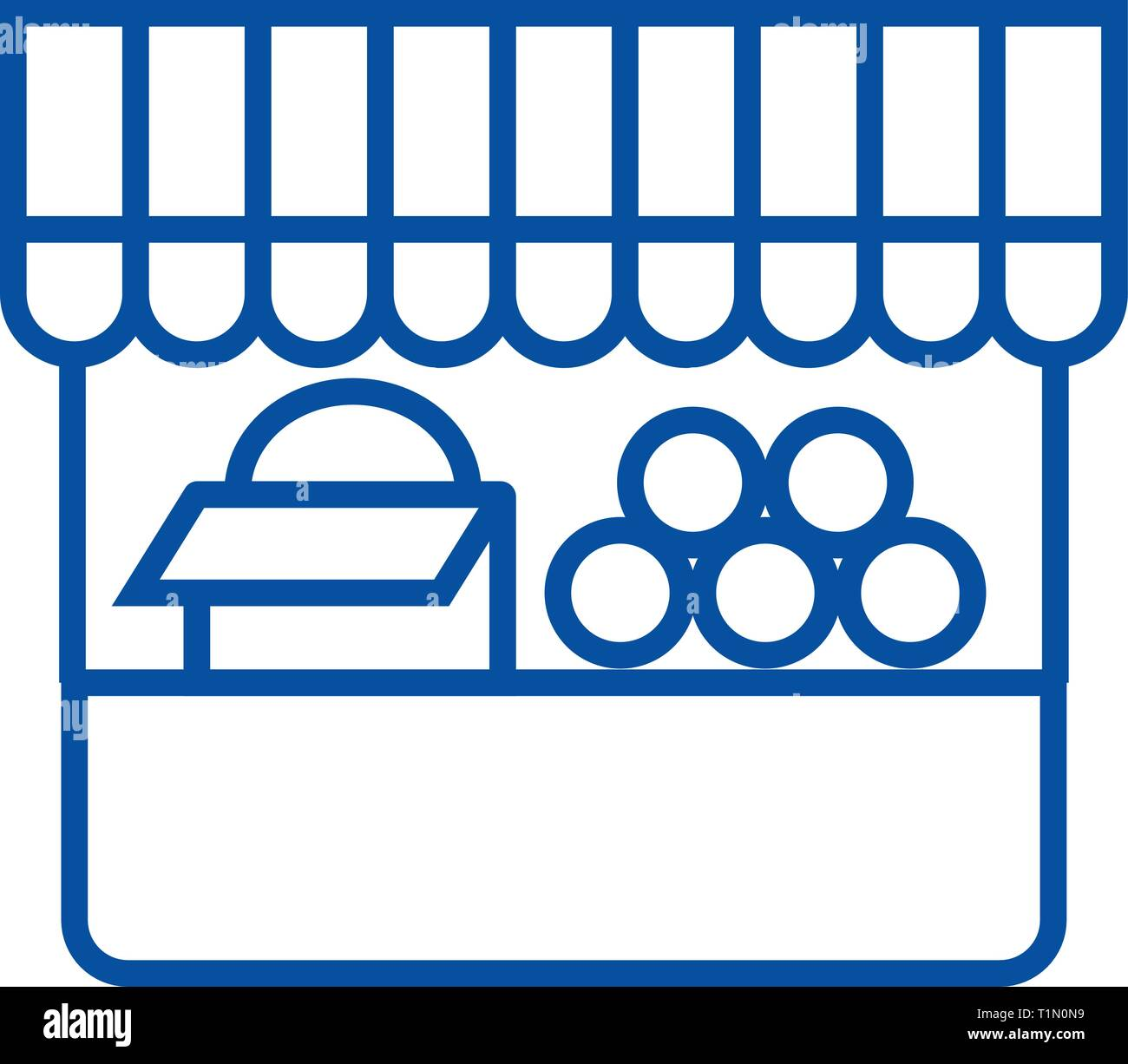 Farmer food stall line icon concept. Farmer food stall flat  vector symbol, sign, outline illustration. - Stock Vector
