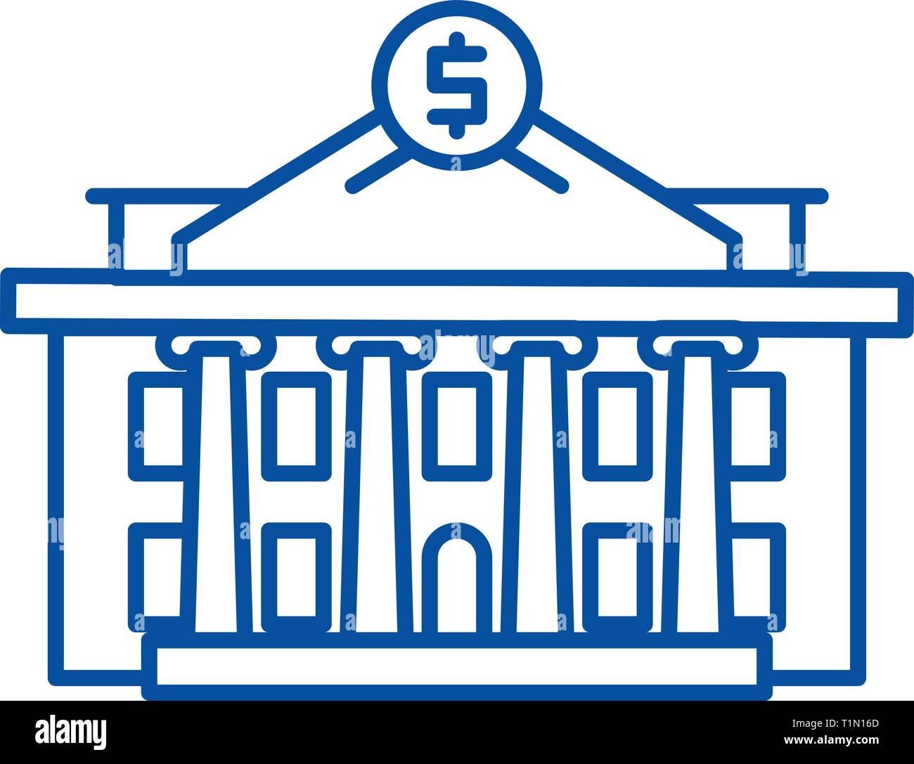Financial institution line icon concept. Financial institution flat  vector symbol, sign, outline illustration. - Stock Vector