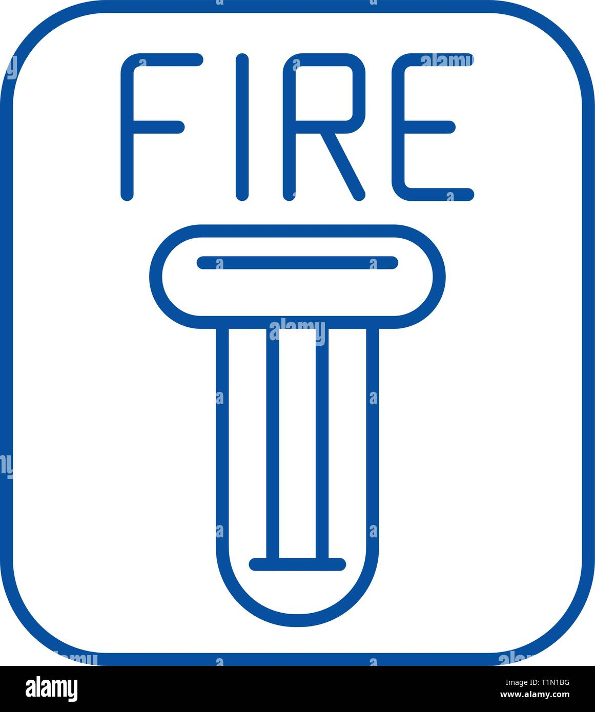 Fire safety line icon concept. Fire safety flat  vector symbol, sign, outline illustration. - Stock Image