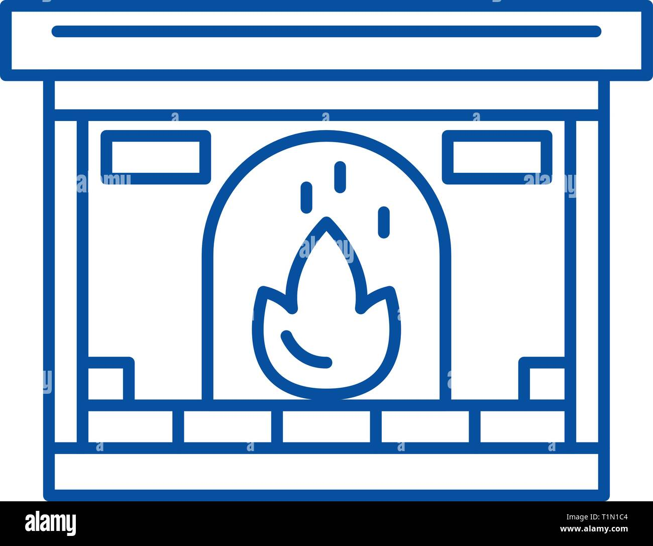 Fireplace line icon concept. Fireplace flat  vector symbol, sign, outline illustration. - Stock Vector