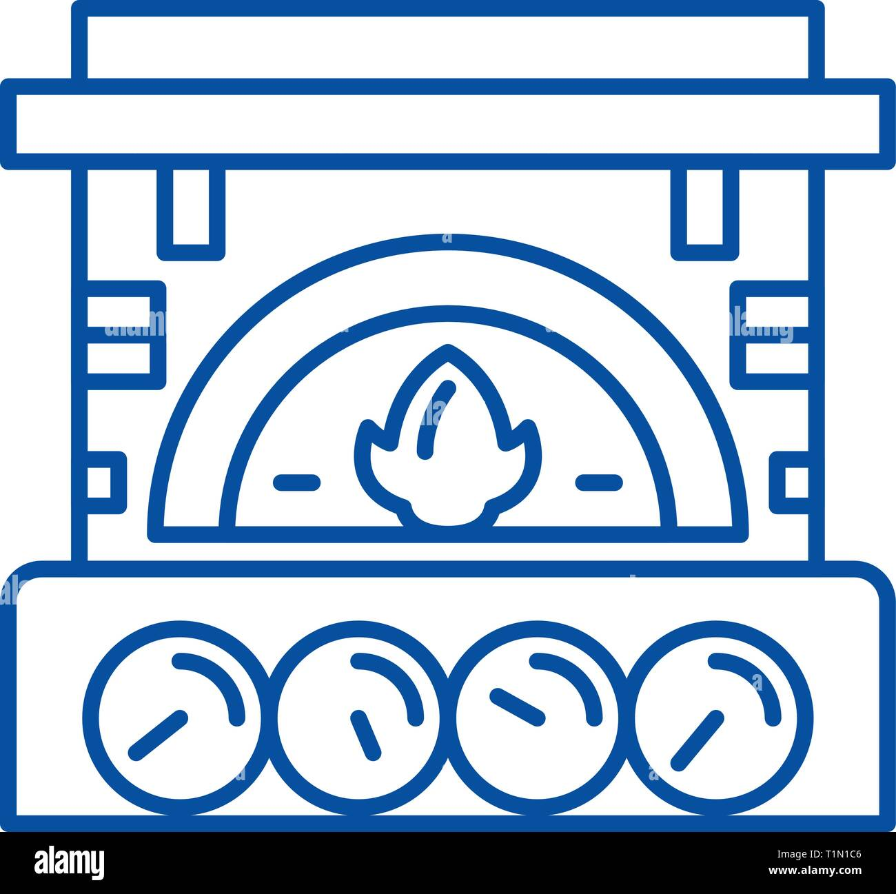 Fireplace brick line icon concept. Fireplace brick flat  vector symbol, sign, outline illustration. - Stock Vector