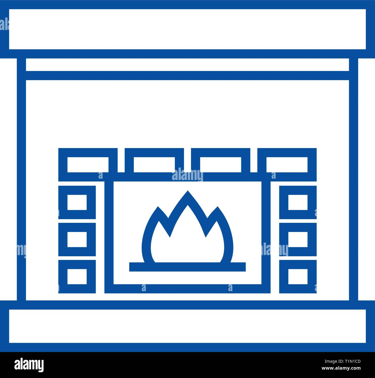 Fireplace,hearth line icon concept. Fireplace,hearth flat  vector symbol, sign, outline illustration. - Stock Vector