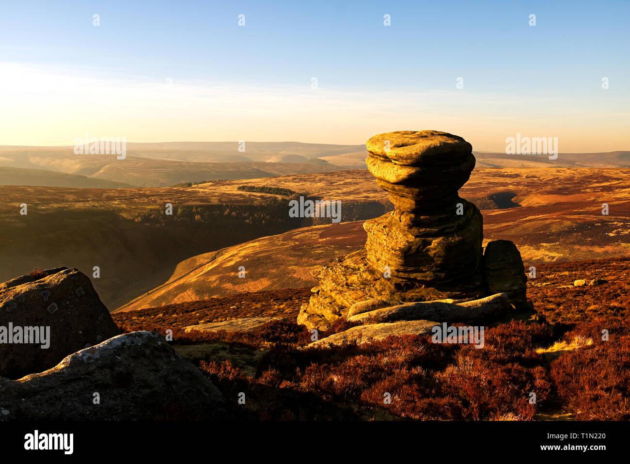 Sunset at Salt Cellar, a strange rock formation high up on Derwent Edge in the English Peak District, UK - Stock Image