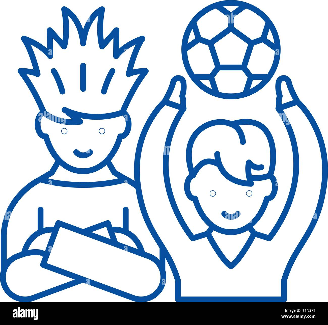 Football fans line icon concept. Football fans flat  vector symbol, sign, outline illustration. - Stock Vector