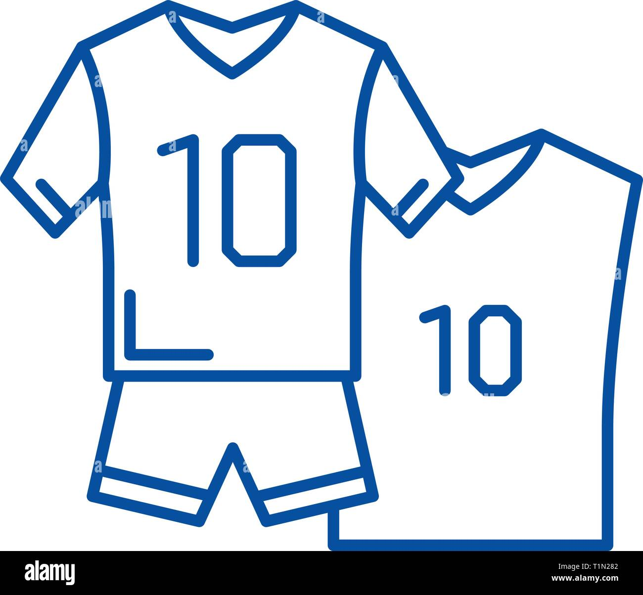 Football game line icon concept. Football game flat  vector symbol, sign, outline illustration. - Stock Vector