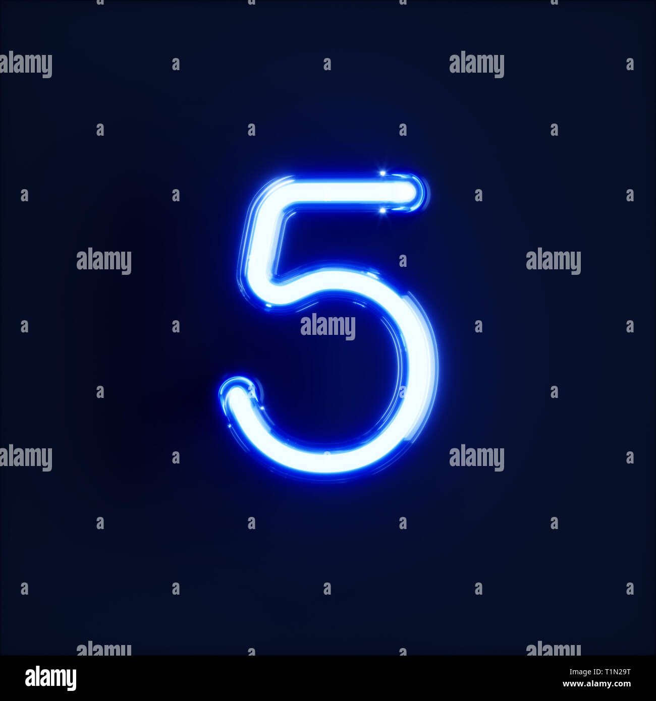 Neon light digit alphabet character 5 five font  Neon tube