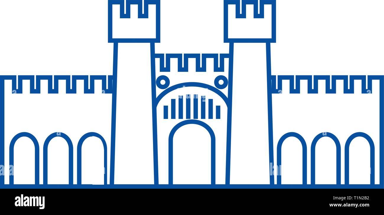 Fortress illustration line icon concept. Fortress illustration flat  vector symbol, sign, outline illustration. - Stock Vector