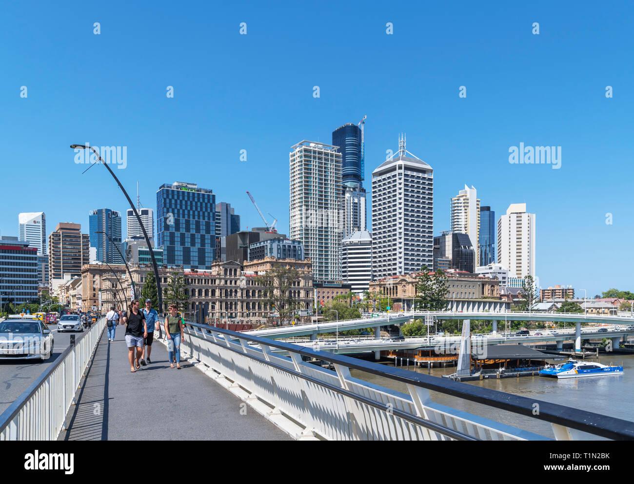 Brisbane, Australia. The skyline of the Central Business District (CBD) from Victoria Bridge, Brisbane, Queensland, Australia - Stock Image