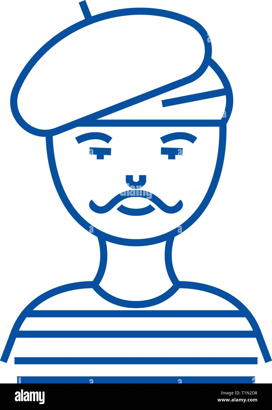 French man,artist,mime line icon concept. French man,artist,mime flat  vector symbol, sign, outline illustration. - Stock Image