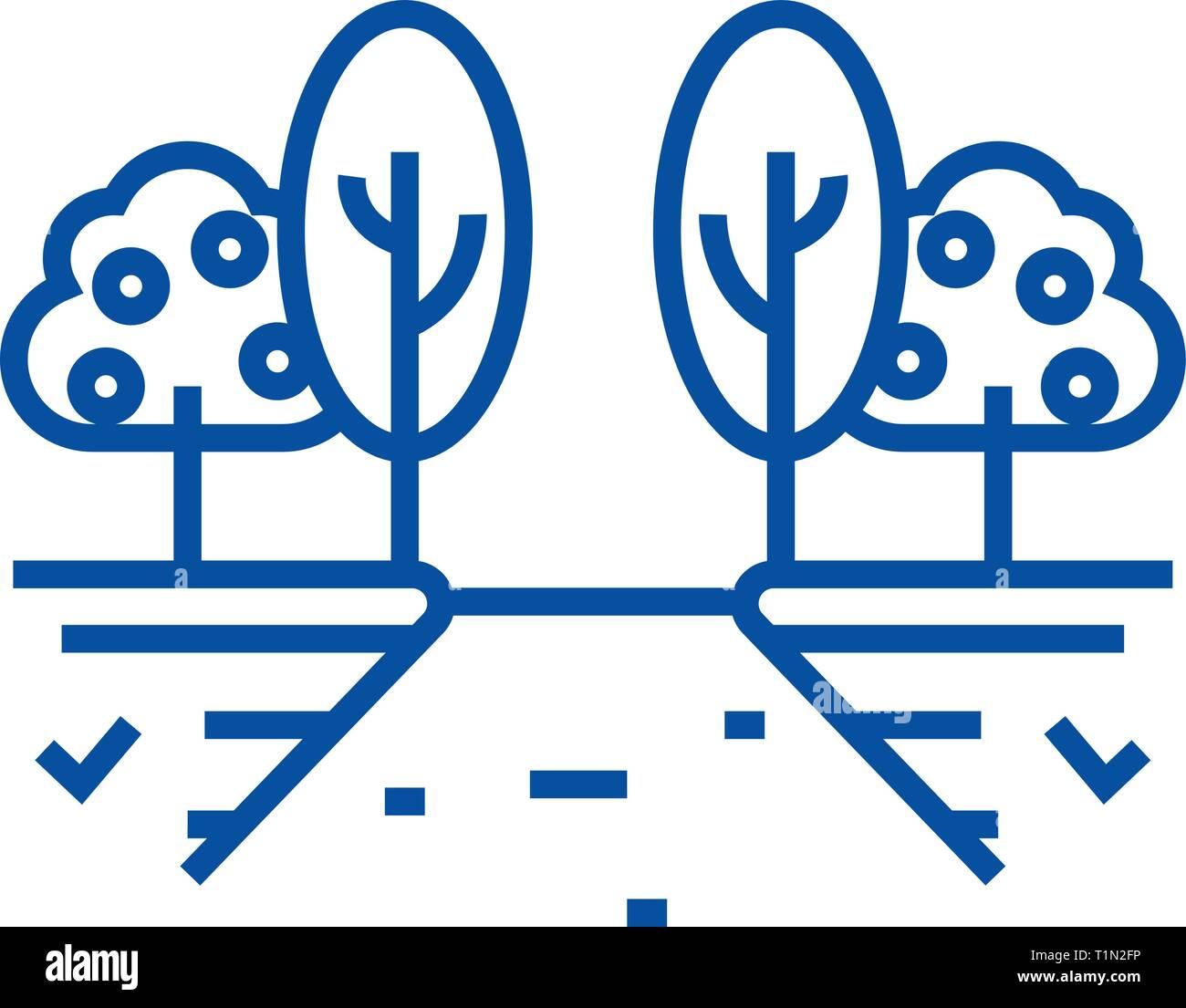 Fruit tree garden line icon concept. Fruit tree garden flat  vector symbol, sign, outline illustration. - Stock Vector