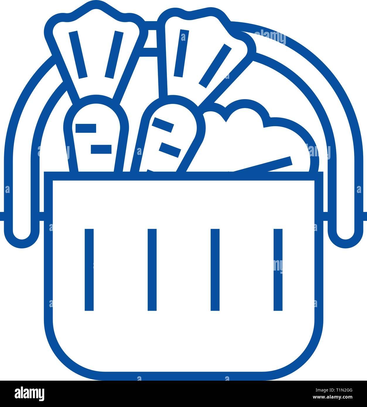 Full grocery supermarket cart line icon concept. Full grocery supermarket cart flat  vector symbol, sign, outline illustration. - Stock Image