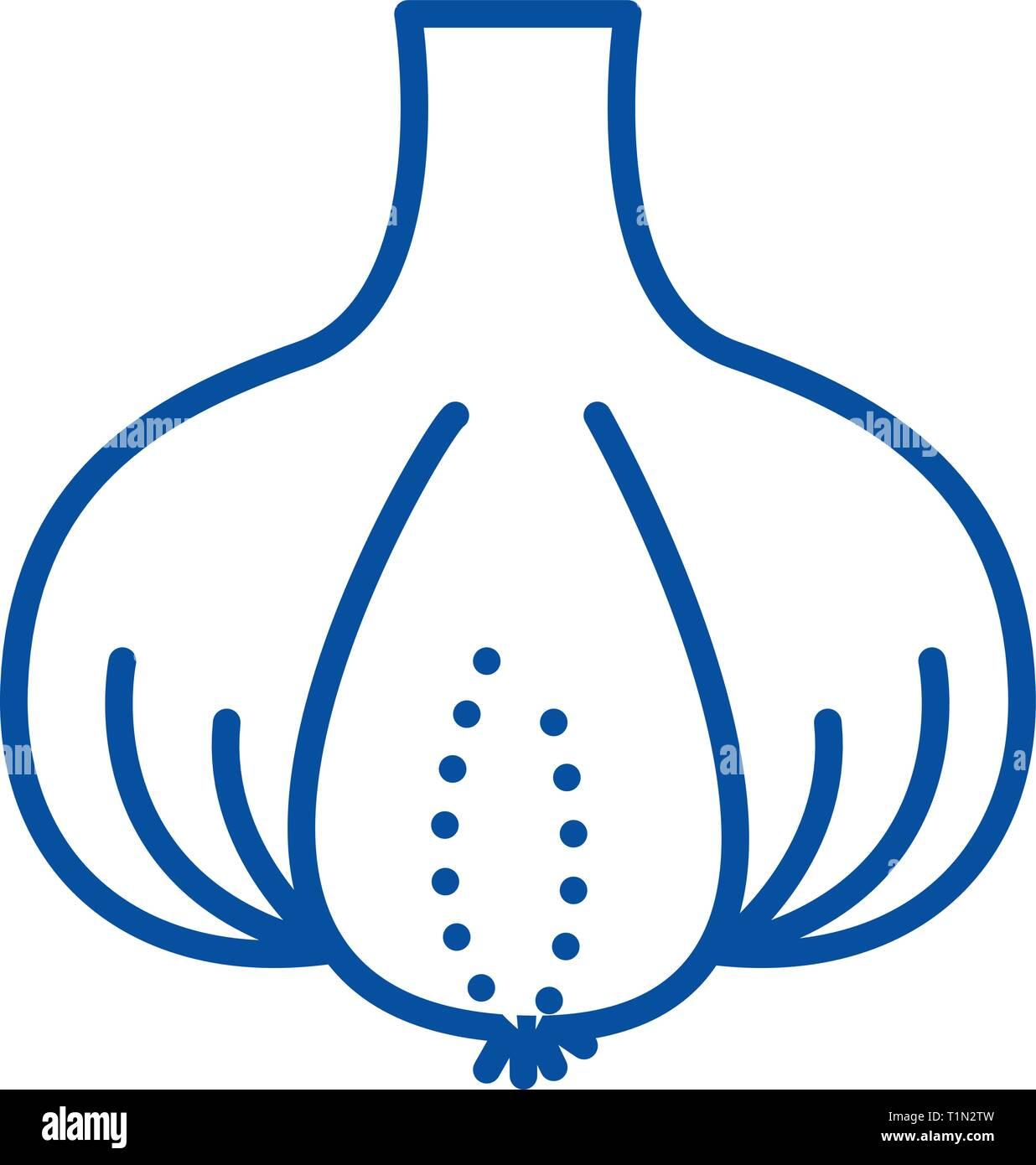 Garlic line icon concept. Garlic flat  vector symbol, sign, outline illustration. - Stock Vector