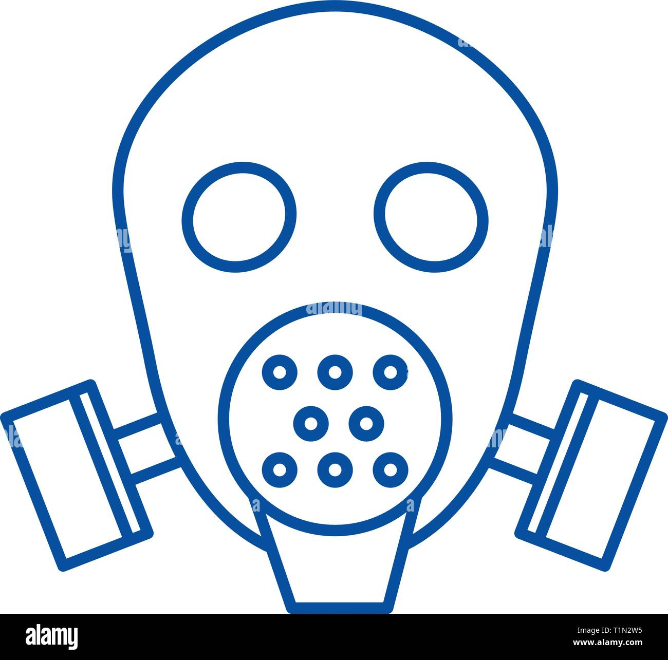 Gas mask respirator  line icon concept. Gas mask respirator  flat  vector symbol, sign, outline illustration. - Stock Image