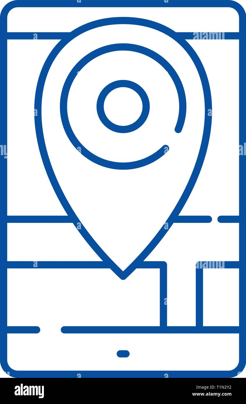 Geolocation line icon concept. Geolocation flat  vector symbol, sign, outline illustration. - Stock Vector