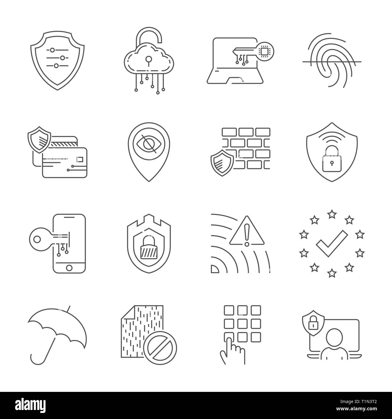 Internet security and digital protection line icons set. Design signs for web, app, ui. Modern perfect vector illustration. Editable Stroke. EPS 10 - Stock Image