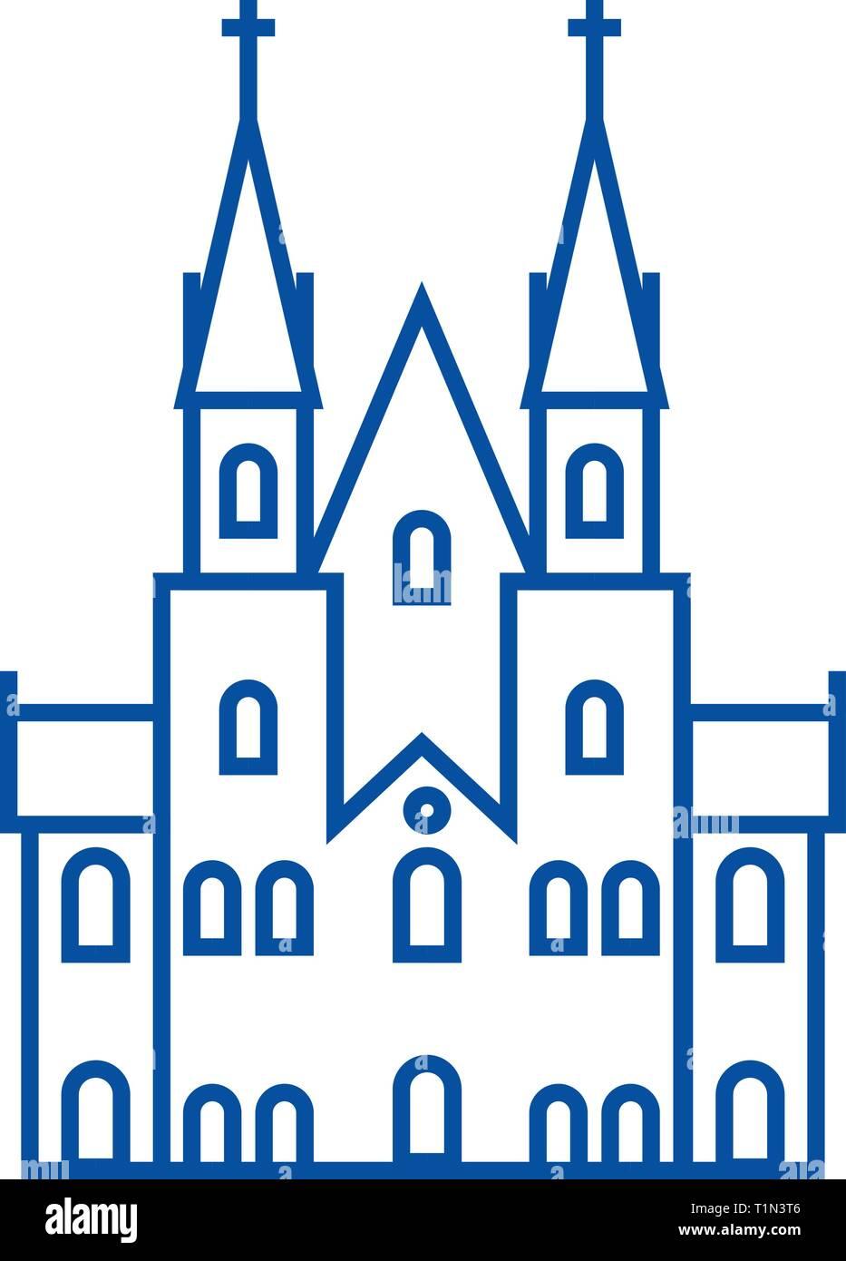 Gothic castle line icon concept. Gothic castle flat  vector symbol, sign, outline illustration. - Stock Vector