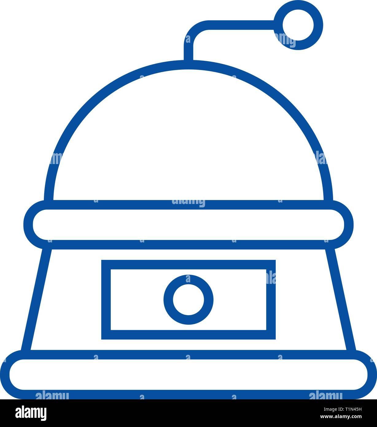 Grinder line icon concept. Grinder flat  vector symbol, sign, outline illustration. - Stock Vector