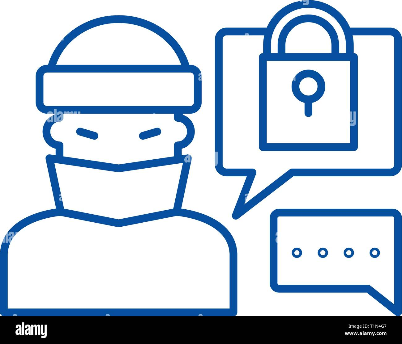Hacking access system line icon concept. Hacking access system flat  vector symbol, sign, outline illustration. - Stock Image