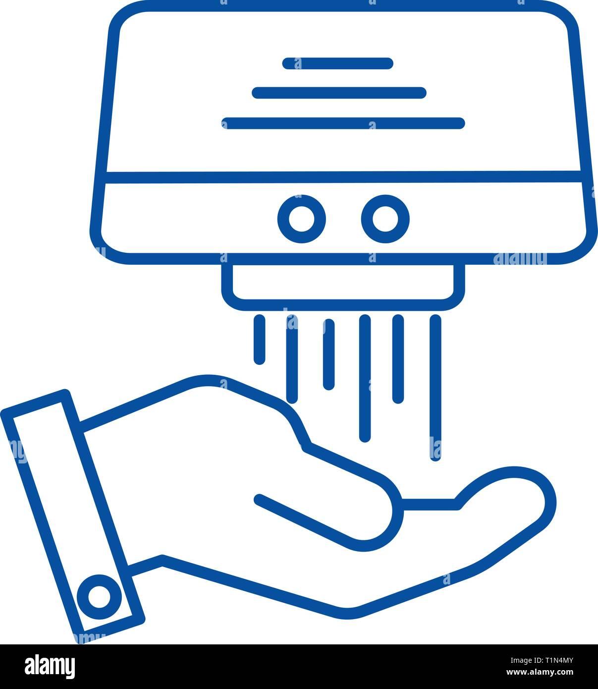 Hand dryer line icon concept. Hand dryer flat  vector symbol, sign, outline illustration. - Stock Vector