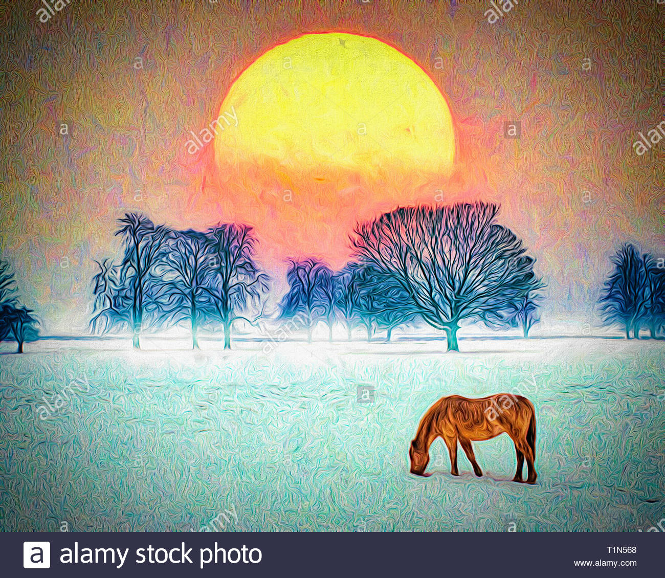 DIGITAL ART: Winter Scene at West Wycombe, Buckinghamshire, Great Britain - Stock Image