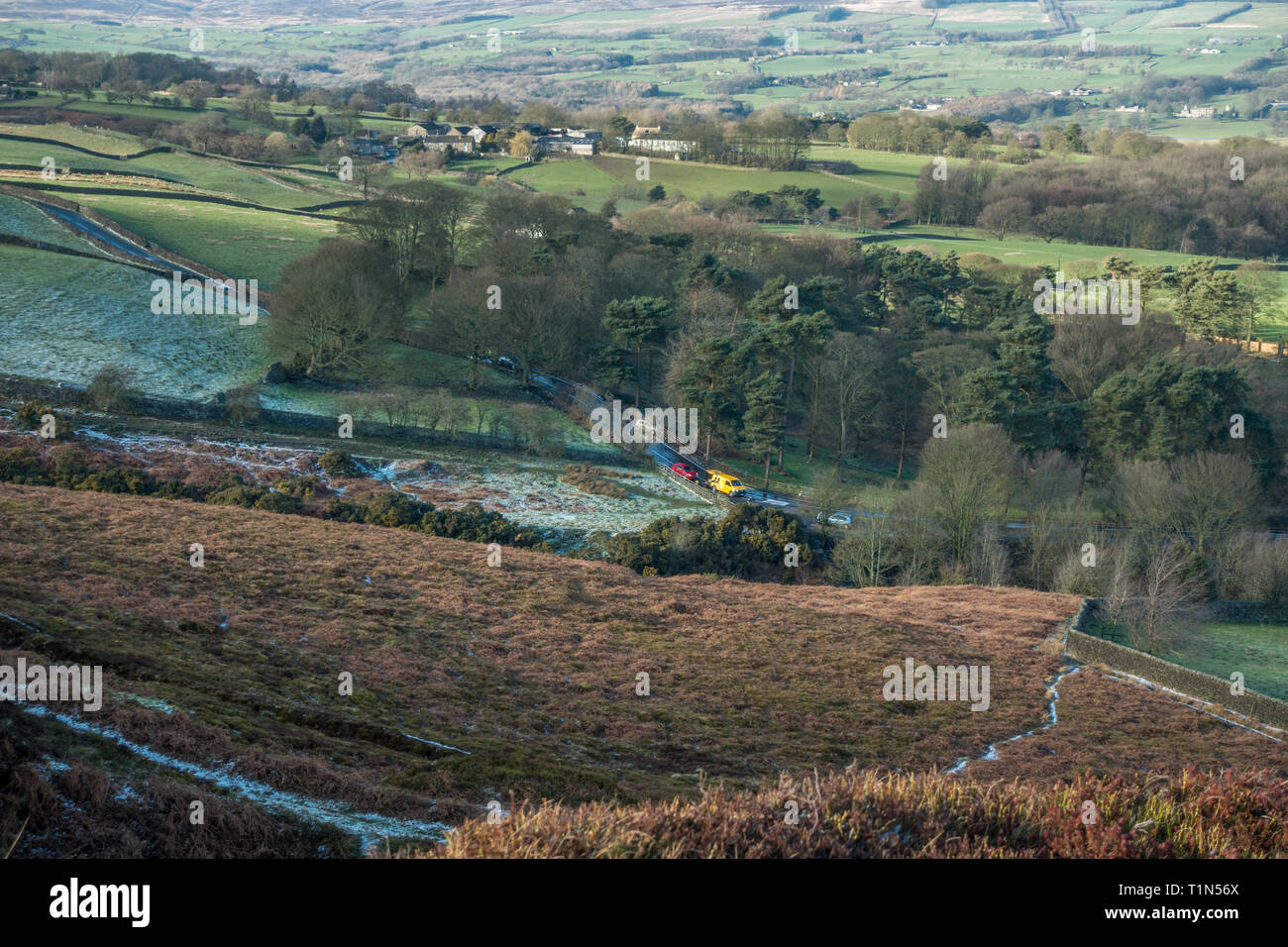 Road traffic accident caused by a hailstone downpour which created a slippery surface that meant a driver lost control of their car on a hill. Stock Photo